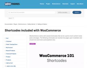 Los shortcodes incluidos en WooCommerce